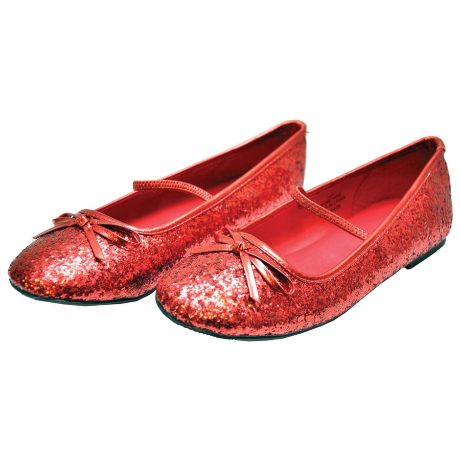 Flat Ballet Slipper Glitter Kids Red Xlg - Halloween costumes Shoes & Boots