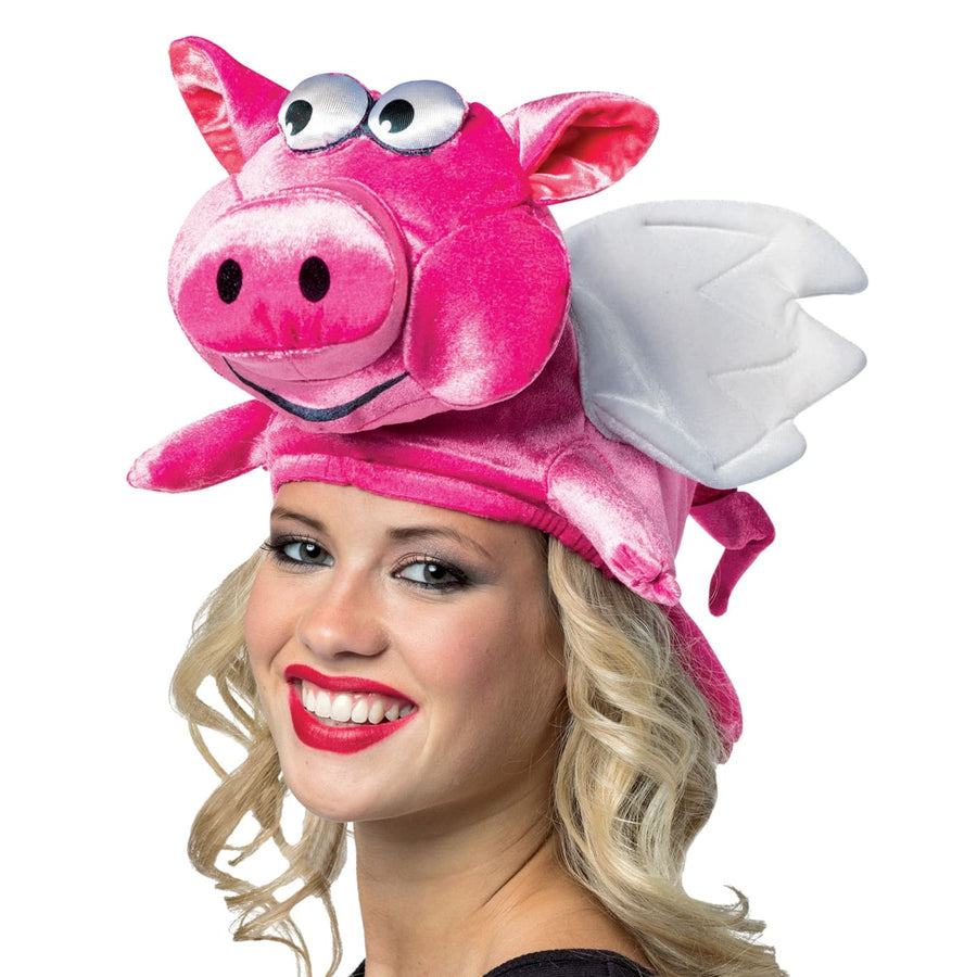 Flying Pig Adult Hat - Animal & Insect Costume Halloween costumes Hats Tiaras &