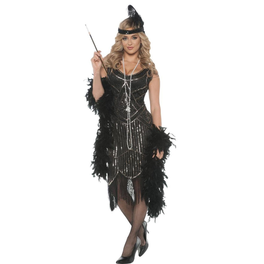 Gatsby Girl Adult Costume Xlarge - Gangster & Flapper Costume Mens Plus Size