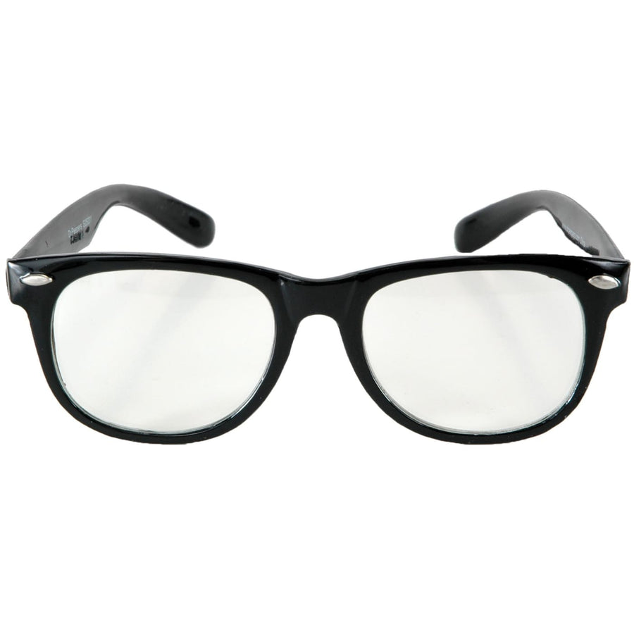 Glasses Blues Black & Clear Lenses - 50s Costume Glasses Gloves & Neckwear