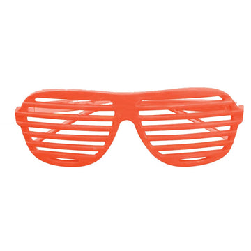 Glasses Slot Neon Orange - 80s Costume Glasses Gloves & Neckwear Halloween