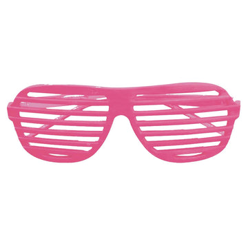 Glasses Slot Neon Pink - 80s Costume Glasses Gloves & Neckwear Halloween