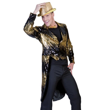 Glitter Tailcoat Gold Adult Costume Lg - 80s Costume adult halloween costumes
