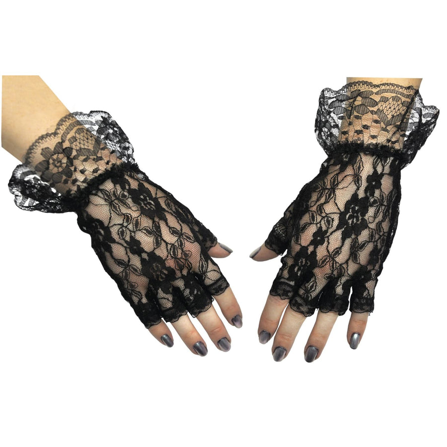 Gloves Black Fingerless 1 Sz - Glasses Gloves & Neckwear Halloween costumes