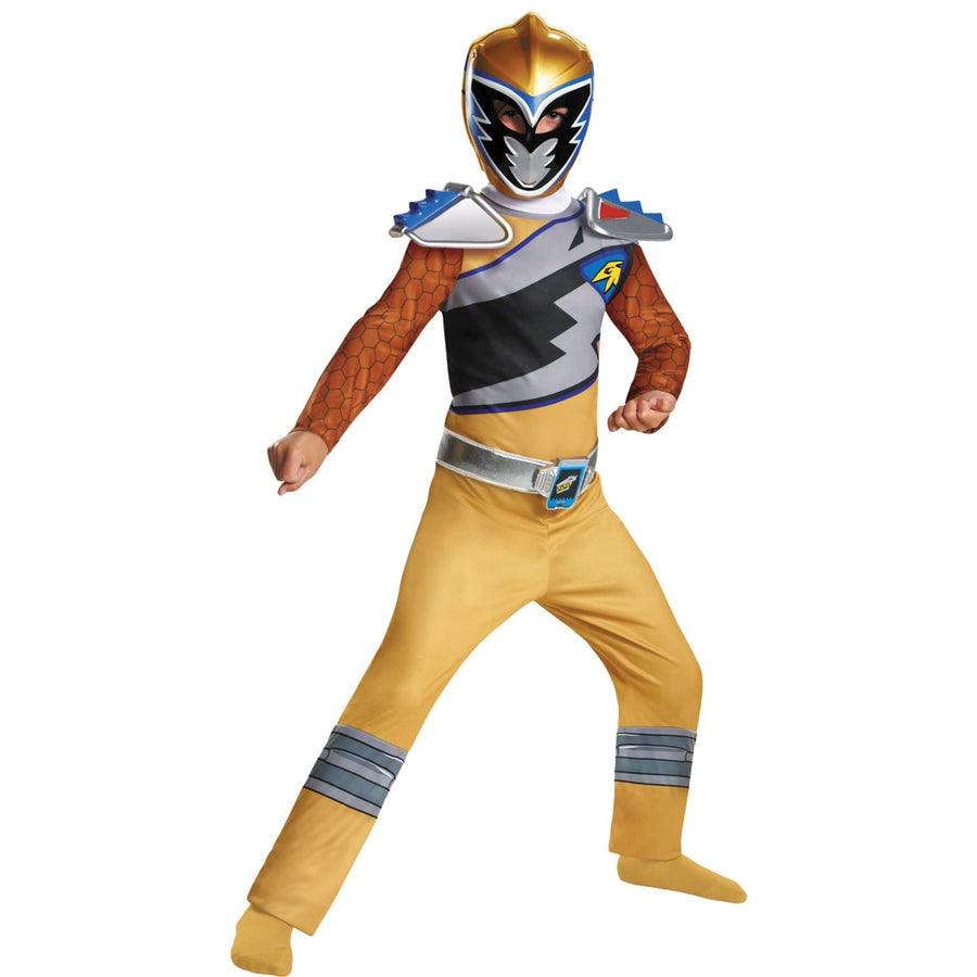 Gold Power Power Ranger Dino Classic Boys Costume 7-8 - Boys Costumes featured