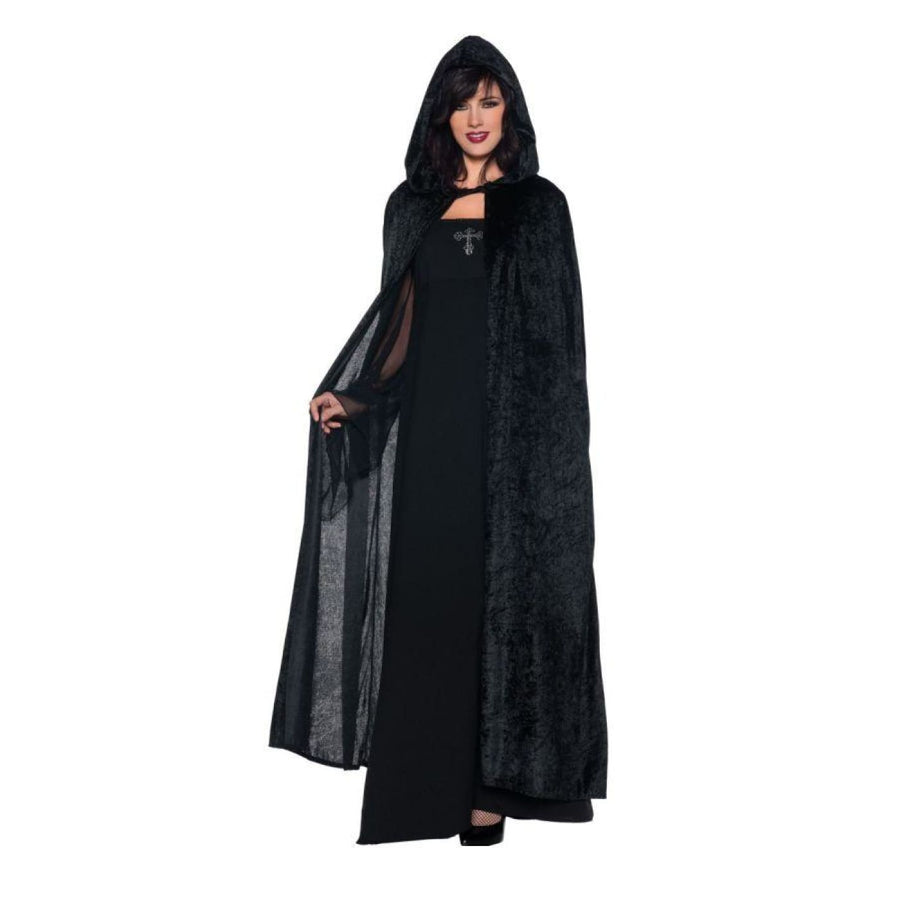 Hooded Cloak Black 55 - Gothic & Vampire Costume Robes Capes & Wings