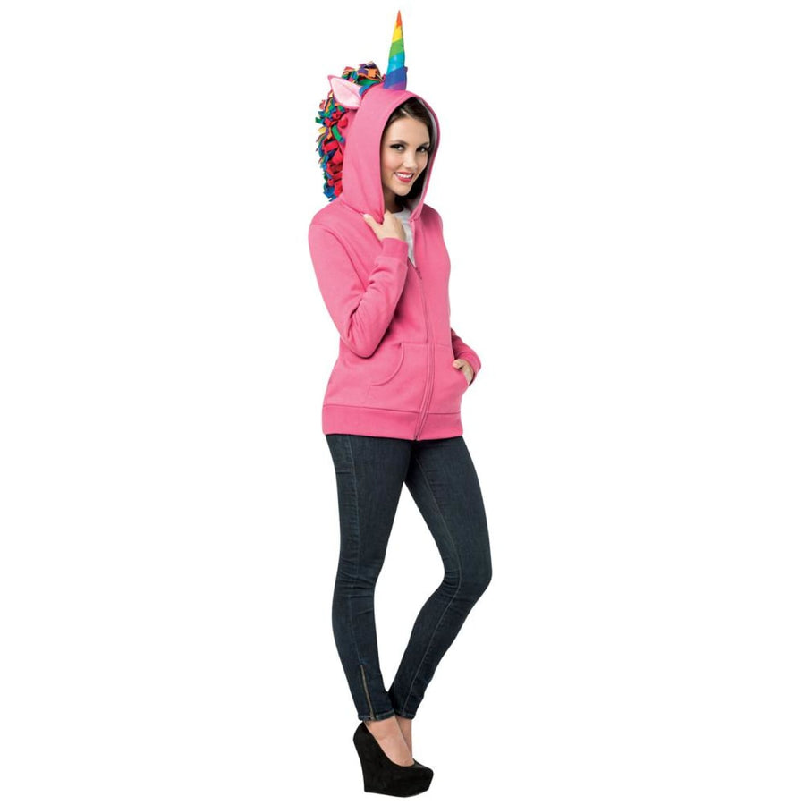 Hoodie Unicorn Pink Adult Costume Medium - adult halloween costumes Halloween