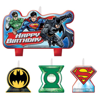 Justice League Candles -Set of 4 - Birthday Party Decorations Birthday Party