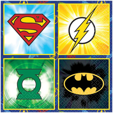 Justice League Lunch Napkins -Set of 16 - Birthday Party Decorations Birthday