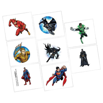 Justice League Temporary Tattoos -Set of 8 - Birthday Party Decorations Birthday