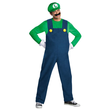 Luigi Deluxe Adult Teen Costume 38-40 - adult halloween costumes Game Costume