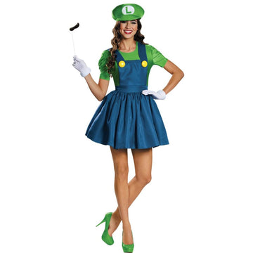 Luigi Skirt Adult Costume Large 12-14 - adult halloween costumes female