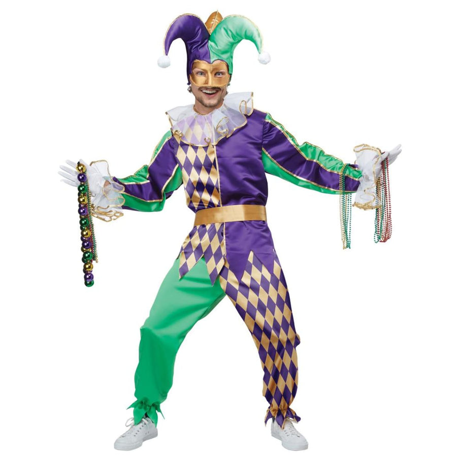 Mardi Gras Jester Adult Costume Large - adult halloween costumes clown costumes