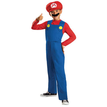 Mario Classic Boys Costume Small 4-6 - Boys Costumes Game Costume Halloween