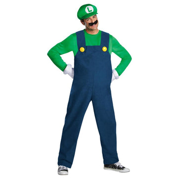 Mario Luigi Deluxe Adult Costume Large 42-46 - adult halloween costumes Game