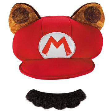Mario Raccoon Hat and Mustache Adult Costume Kit - adult halloween costumes
