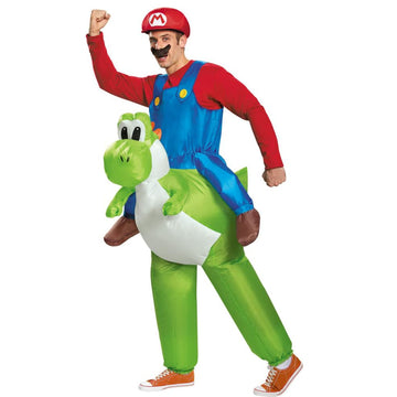 Mario Riding Yoshi Adult Costume Large 42-46 - Game Costume Halloween costumes