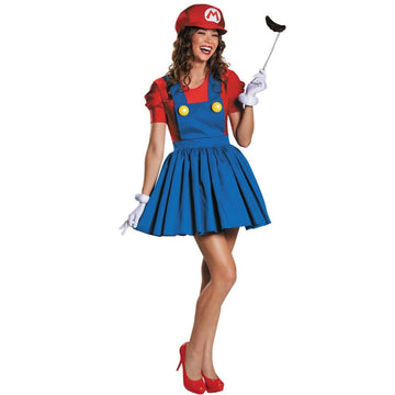 Mario Skirt Adult Costume Medium 8-10 - adult halloween costumes female