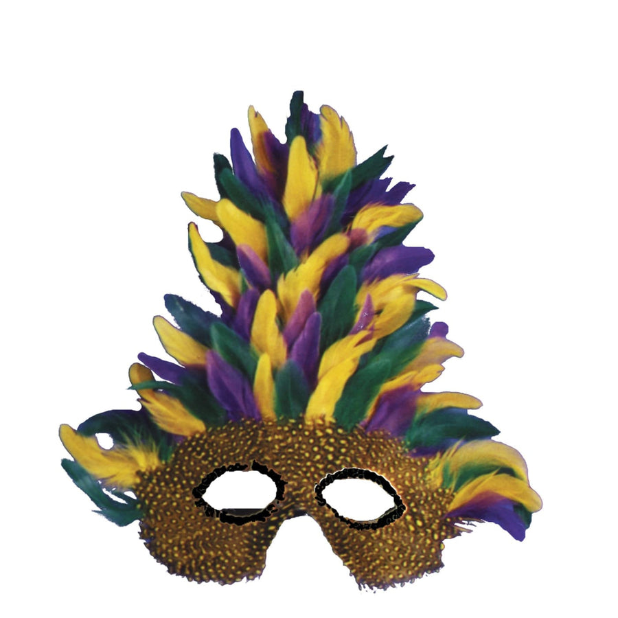 Mask Mardi Gras Tall Feather - Costume Masks Halloween costumes Halloween Mask
