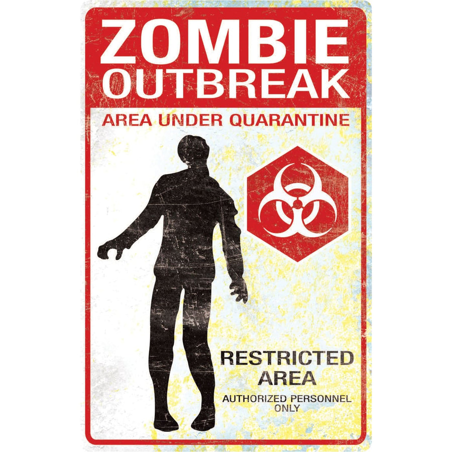 Metal Sign Zombie Outbreak - Decorations & Props