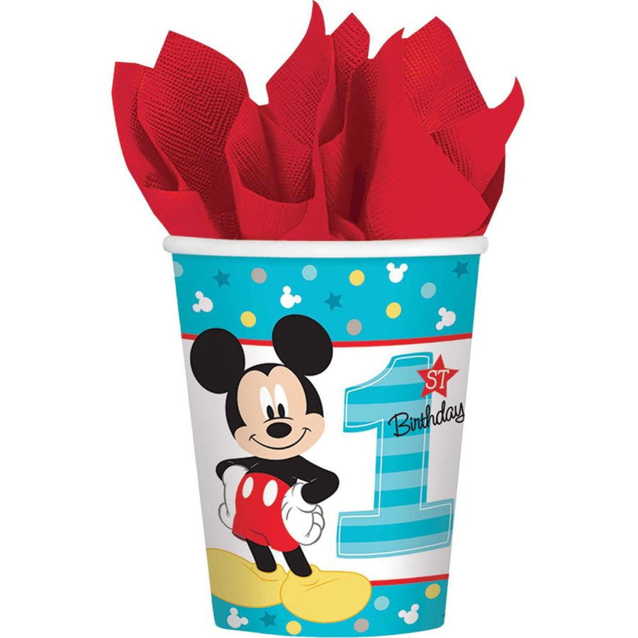 Mickey Mouse 9 Oz Paper Cups -Set of 8 - Birthday Party Decorations Birthday