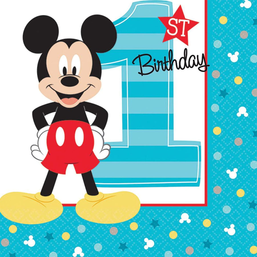 Mickey Mouse Beverage Napkins -Set of 16 - Birthday Party Decorations Birthday
