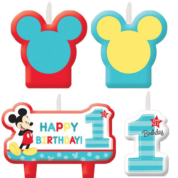 Mickey Mouse Birthday Candles -Set of 4 - Birthday Party Decorations Birthday