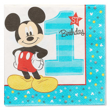 Mickey Mouse Lunch Napkins -Set of 16 - Birthday Party Decorations Birthday