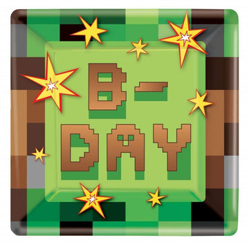 Minecraft 9 Inch Plates -Set of 8 - Birthday Party Decorations Birthday Party