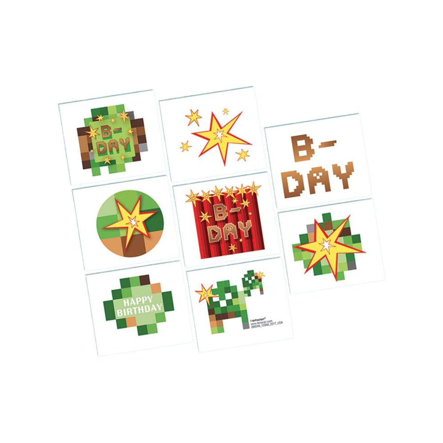Minecraft Temporary Tattoos -Set of 8 - Birthday Party Decorations Birthday