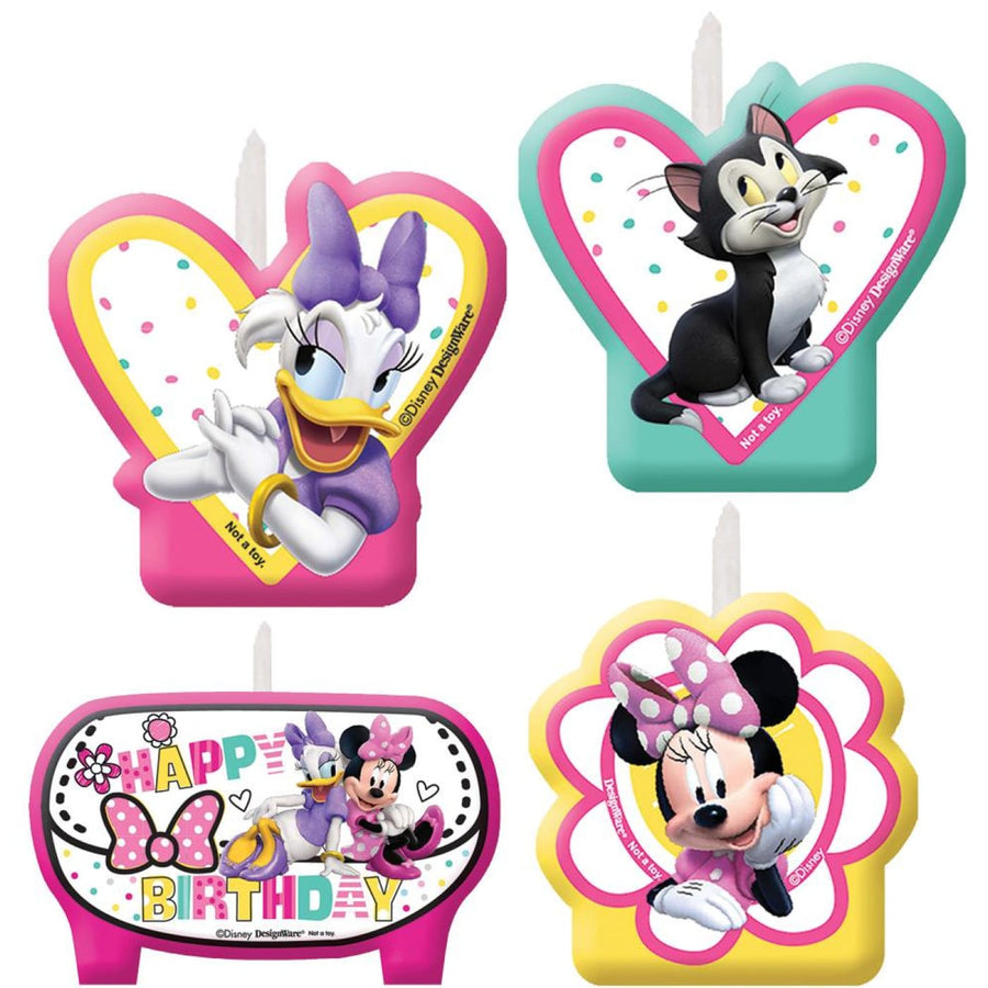 Minnie Mouse Helpers Birthday Candles -Set of 4 - Birthday Party Decorations
