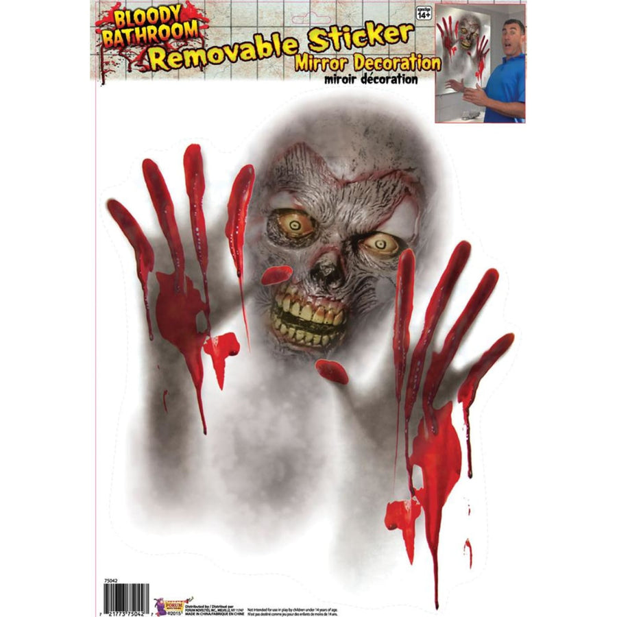 Mirror Bloody Monster Cling - Decorations & Props haunted house decorations