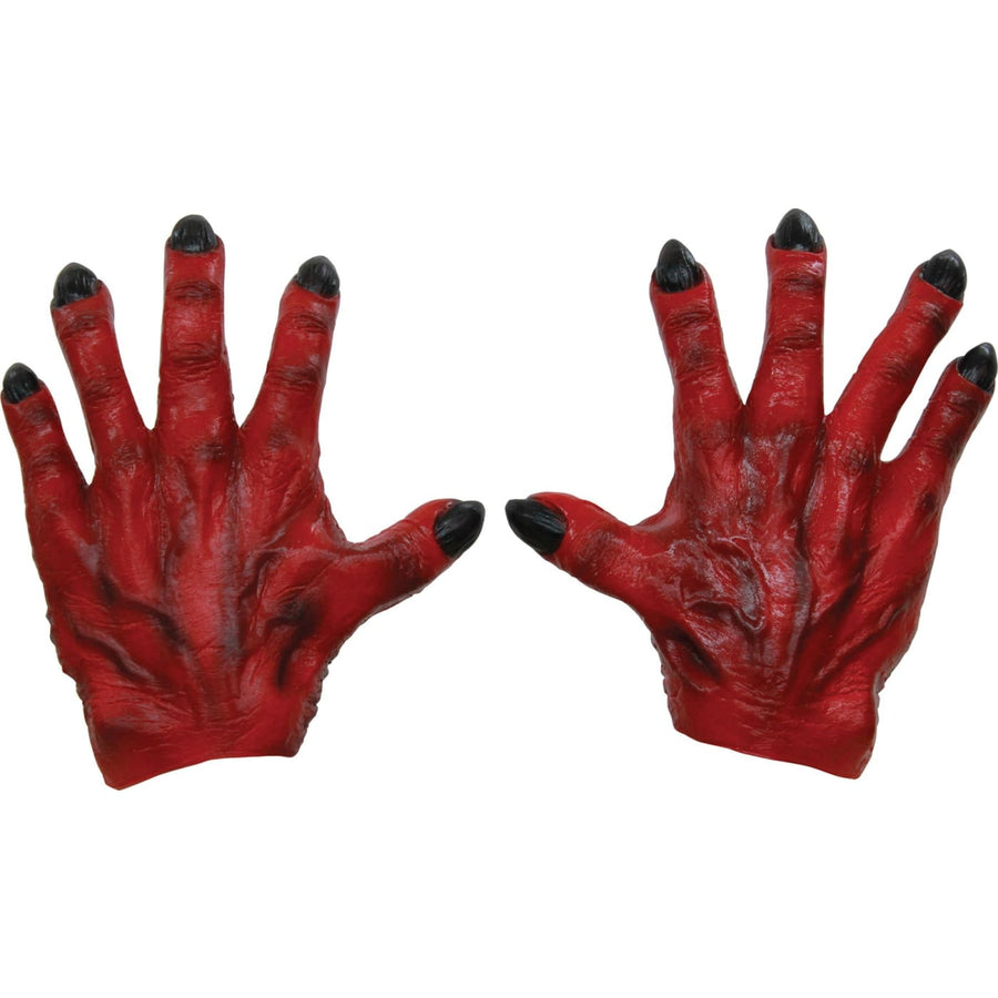 Monster Hands Red Latex - Demon & Devil Costume Ghoul Skeleton & Zombie Costume