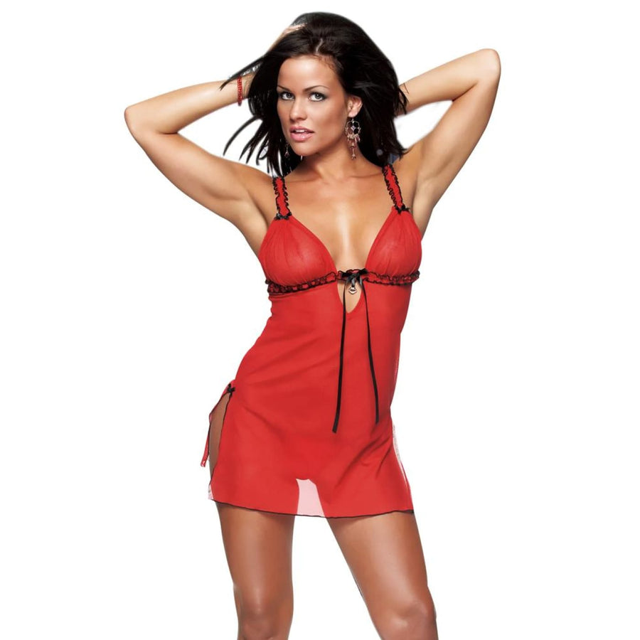 Nightdress Thong Red and Black Lg - Erotic Lingerie Halloween costumes Sexy
