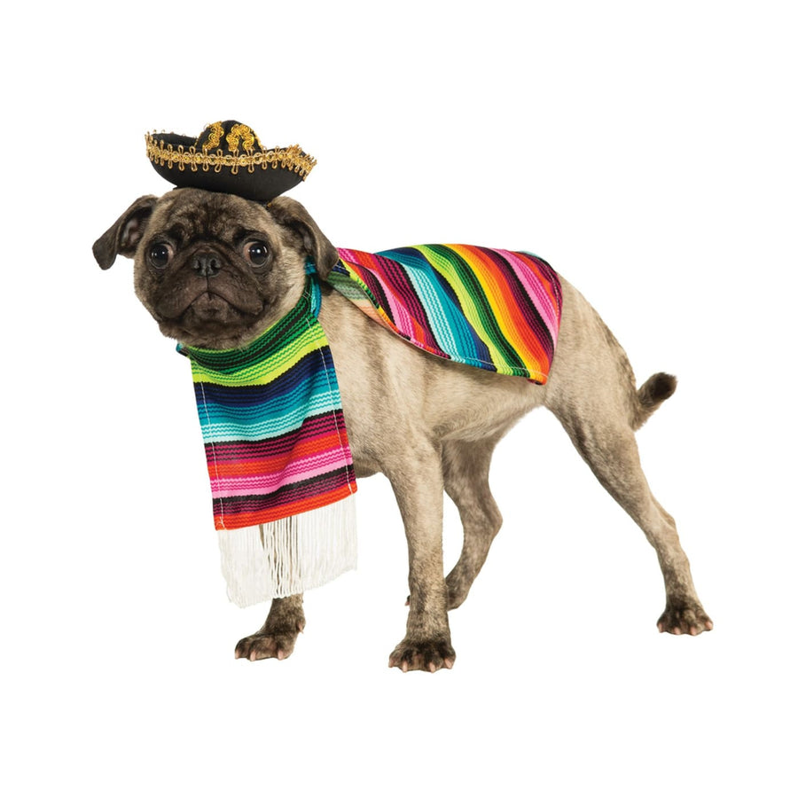 Pet Dog Costume Mexican Poncho & Sombrero Sm - Dog Costume dog costumes Dog