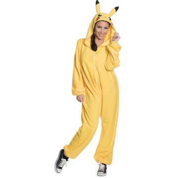 Pikachu Adult 1 Piece Adult Costume Small - adult halloween costumes Halloween