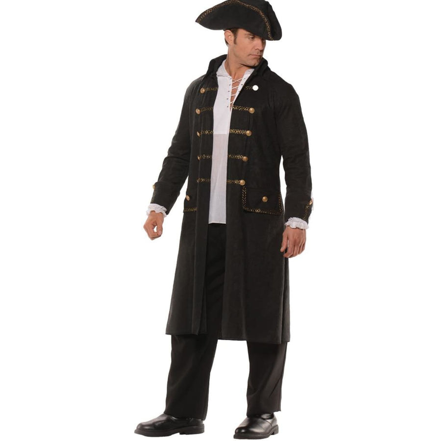 Pirate Coat Set Mens Costume Black Std - adult halloween costumes halloween