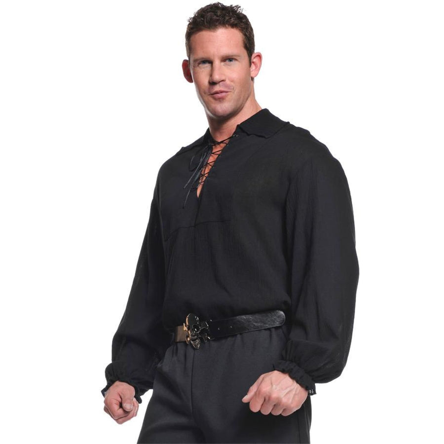 Pirate Shirt Adult Costume Black Xl - adult halloween costumes halloween
