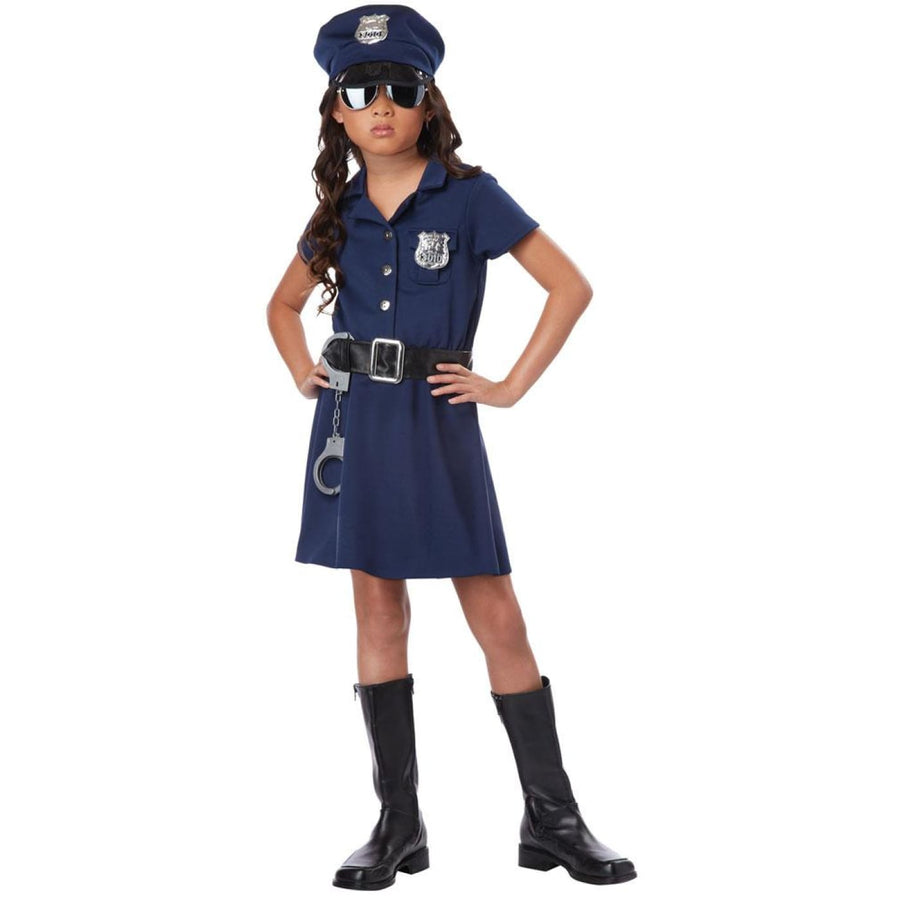 Police Officer Kids Costume Small 6-8 - Convict & Cop Costume Girls Costumes