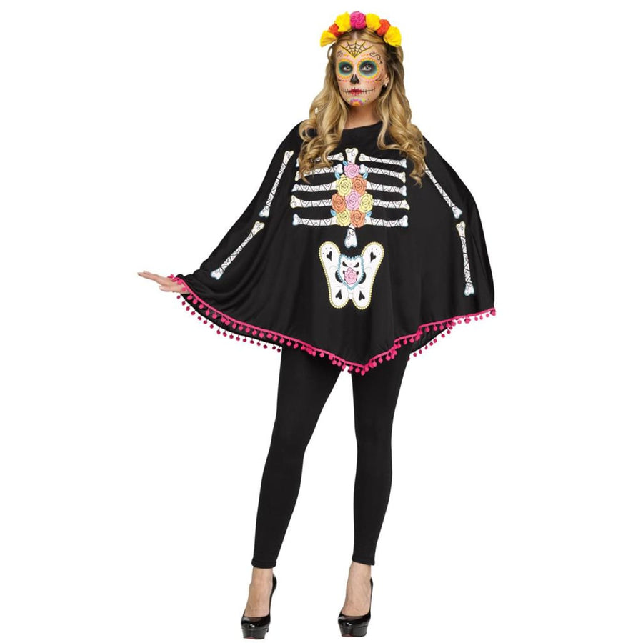 Poncho Day Of Dead Adult Standard Size - adult halloween costumes female