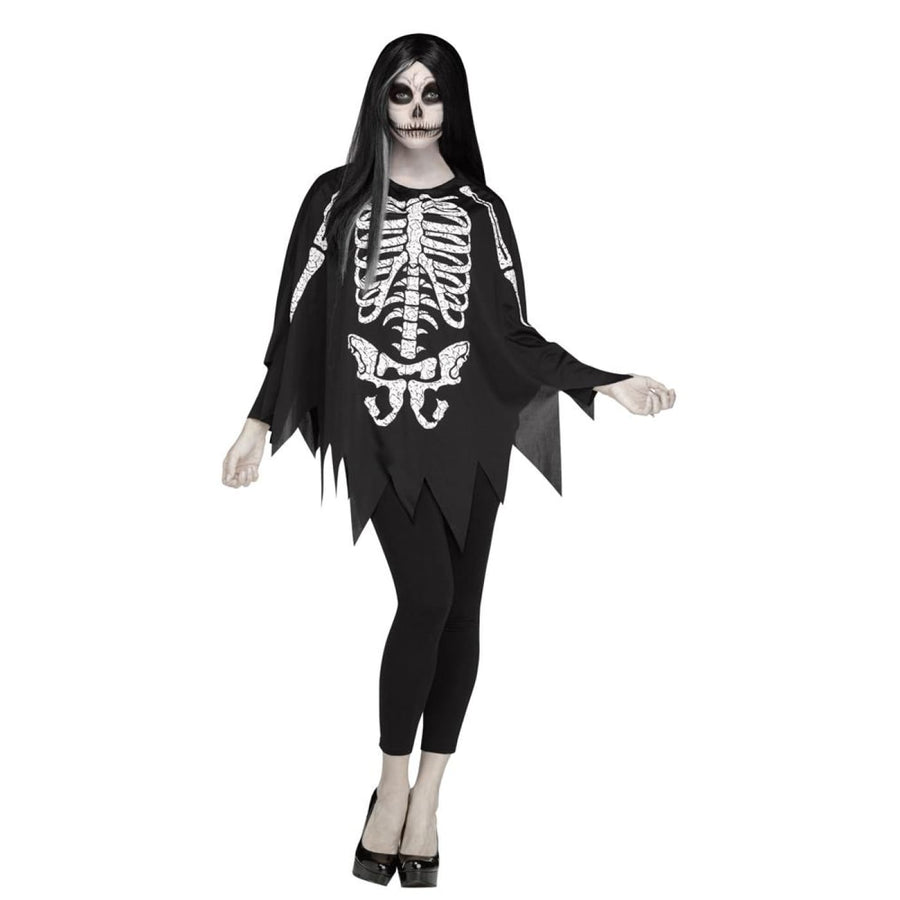 Poncho Skeleton Adult Costume Standard Size - adult halloween costumes female