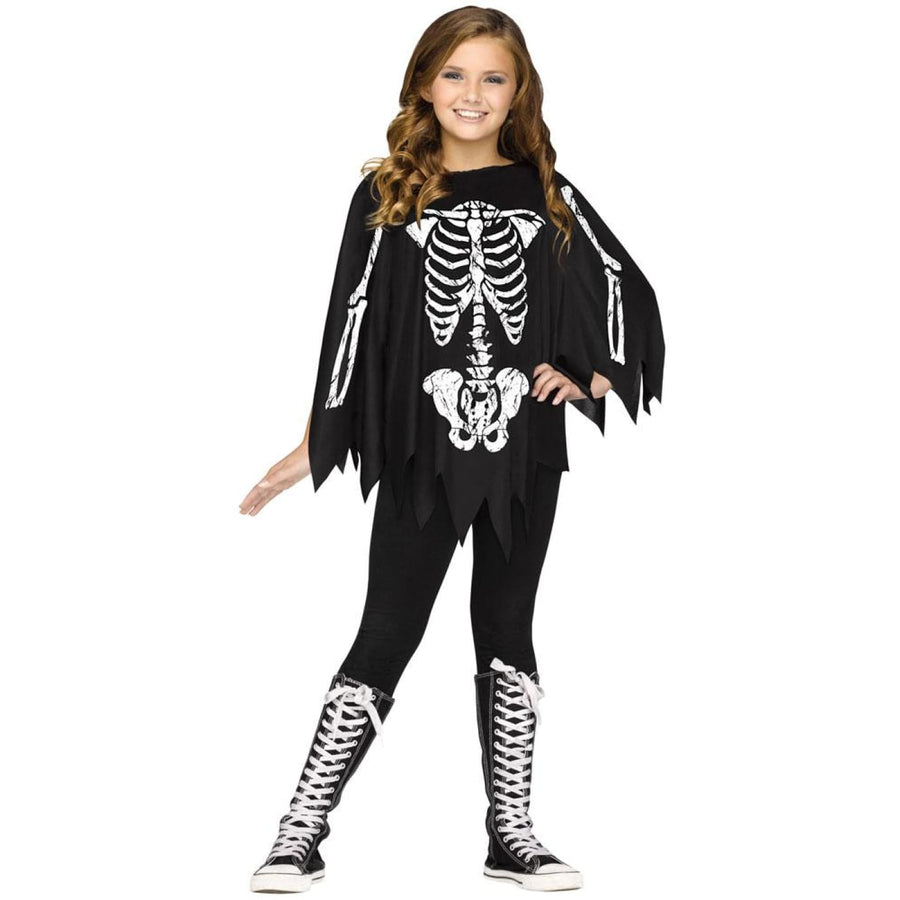 Poncho Skeleton Kids Costume Up To 14 - Ghoul Skeleton & Zombie Costume Girls