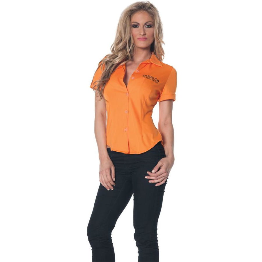 Prisoner Fitted Shirt Adult Costume Xxlarge - adult halloween costumes Convict &