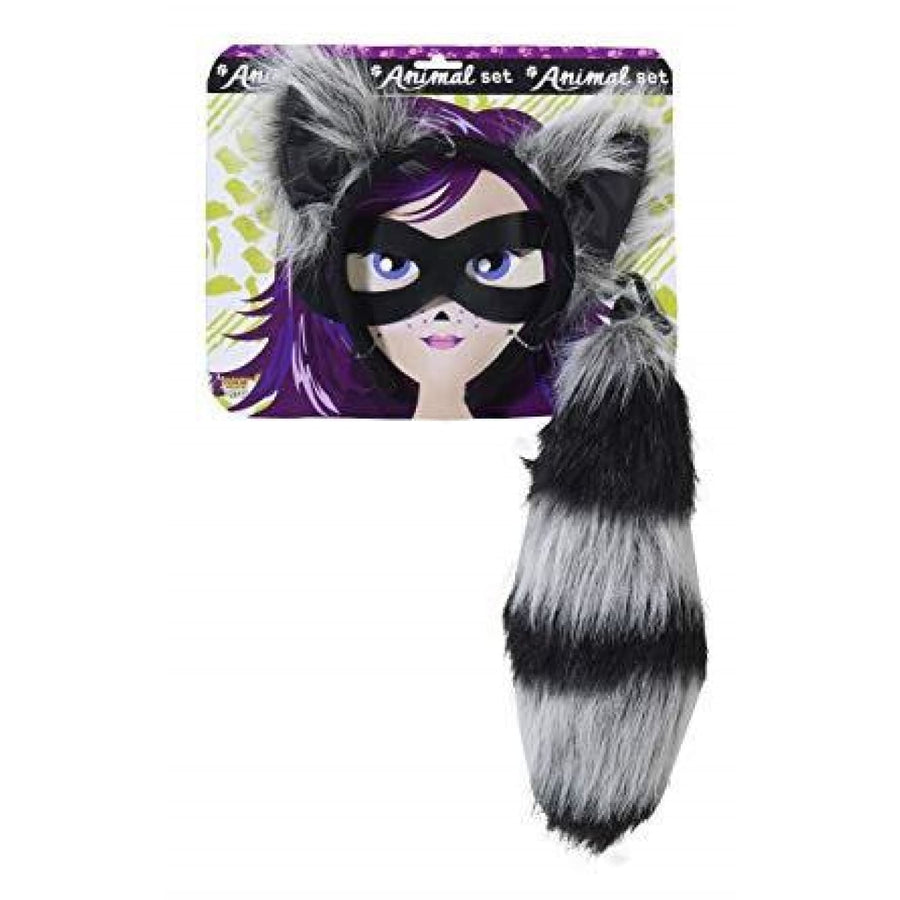 Raccoon With Tail Eye Mask Accessory Kit - Costume Masks Halloween costumes