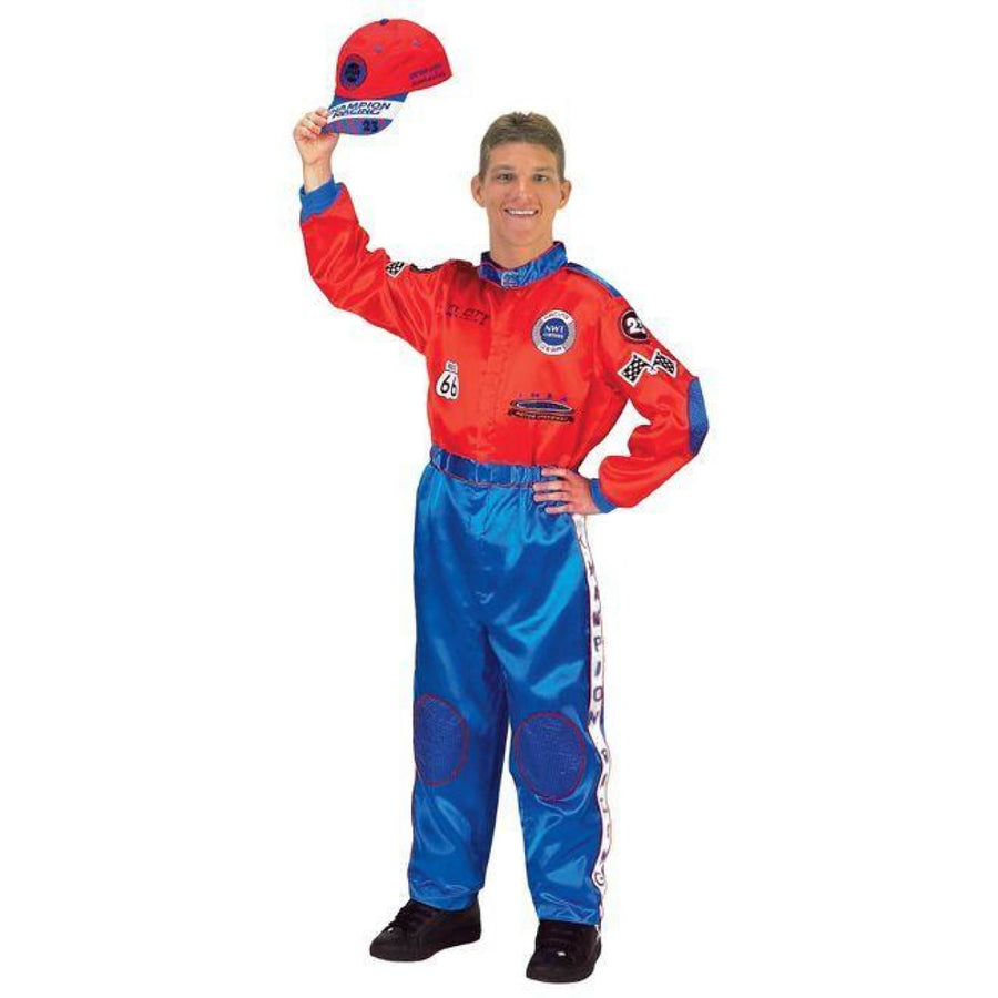 Racing Suit Adult Red Blue - Halloween costumes Racing Suit Adult Red Blue