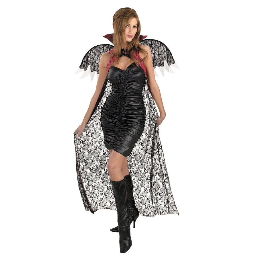 Red Black Lace Cape W Wings - Halloween costumes Holiday Costumes Robes Capes &