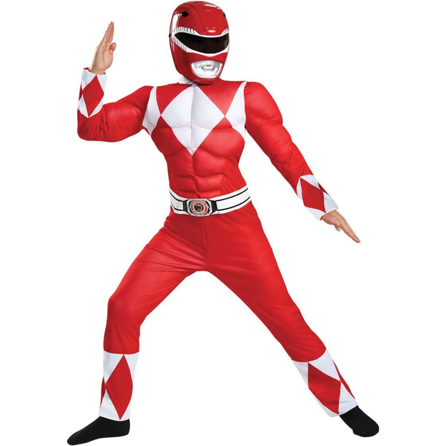 Red Power Ranger Classic Muscle Boys Costume 10-12 - Boys Costumes Halloween