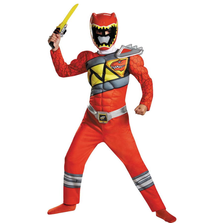 Red Power Ranger Dino Classic Muscle Boys Costume 7-8 - Boys Costumes New
