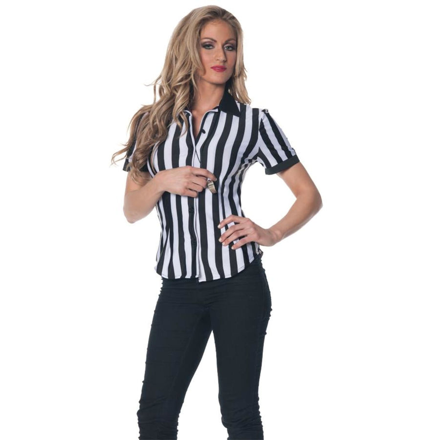 Referee Fitted Shirt Adult Costume Xlarge - Cheerleader & Sports Costume