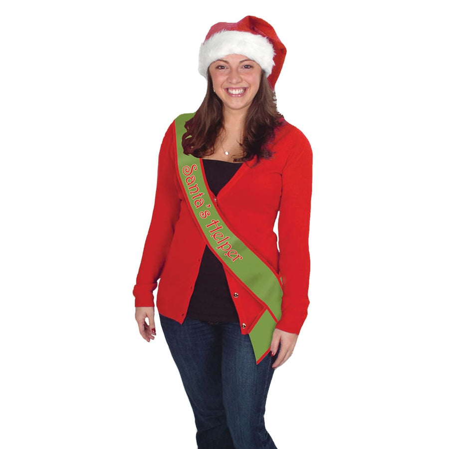 Santa Helper Satin Sash - Halloween costumes Holiday Costumes